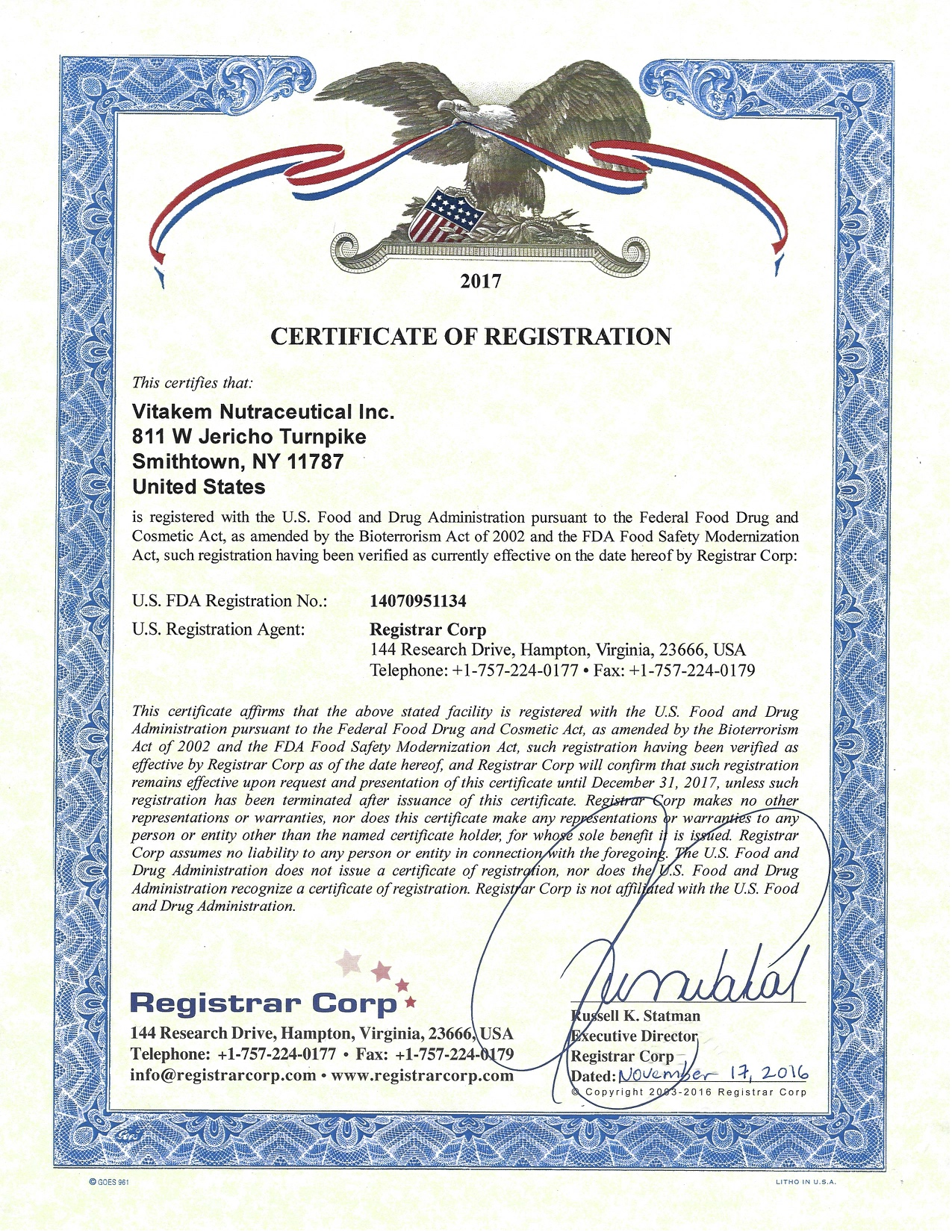 Vitakem FDA Registration