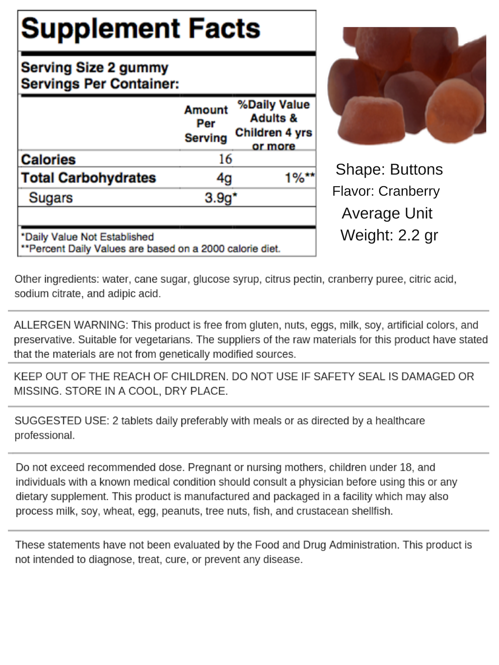 Cranberry Gummies - Order At Vitakem: Private Label Vitamins