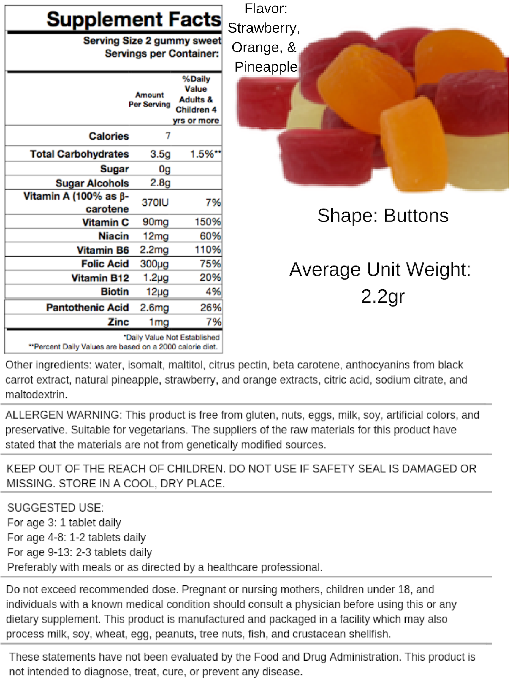 Sugar Free Multivitamin - Mixed Flavors