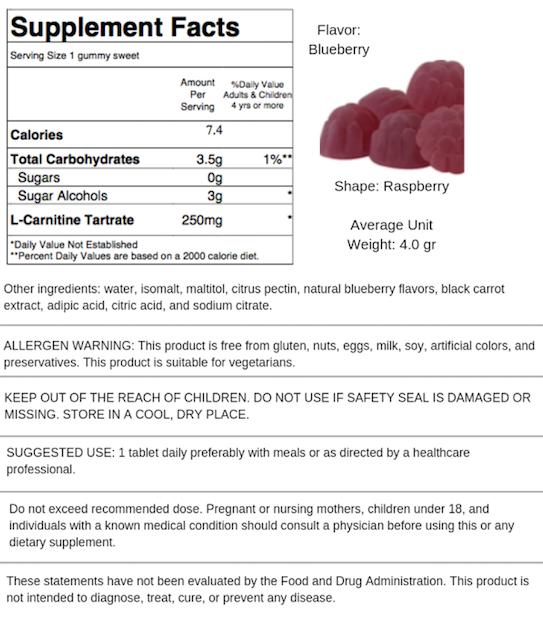 Sugar Free L-Carnitine - Blueberry